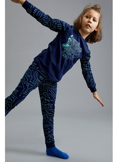 DeFacto Erkek Çocuk Ayı Baskılı Pijama Takımı Lacivert